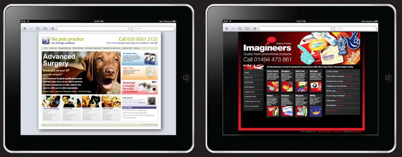 2 computer tablets showing websites designed by Ecobrand